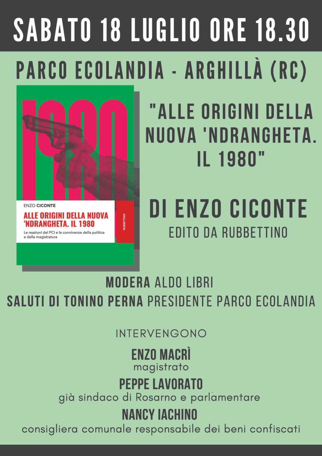 """PRESENTAZIONE DEL LIBRO DI ENZO CICONTE """"ALLE ORIGINE DELLA NUOVA NDRANGHETA 1980"""